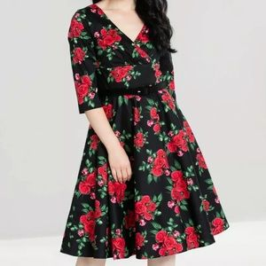 Hell Bunny Black Floral Red Swing Dress Pinup